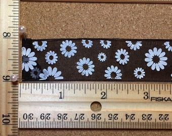 1 inch Black Sheer Ribbon with White Daisies