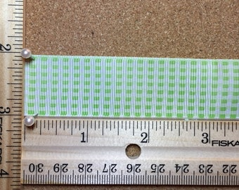 Bright Green Gingham Check 1 inch Grosgrain Ribbon
