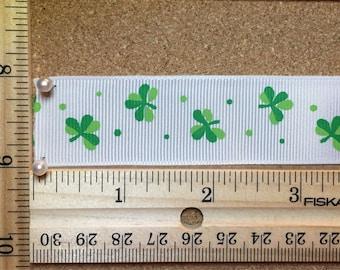 Saint Patty's Day Green Shamrock Three Leaf Clovers on White 1 inch Grosgrain Ribbon