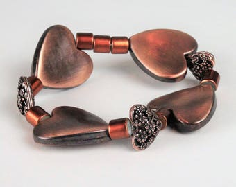 CopperTone Hearts Bracelet