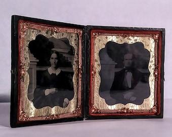Rare Civil War Era Photos in Bi-Fold Leather Case With Latch.