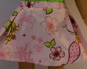 Handmade pink box pleat skirt with a mermaid motif.  You are purcashing the skirt only.   Made to fit like american girl doll clothes