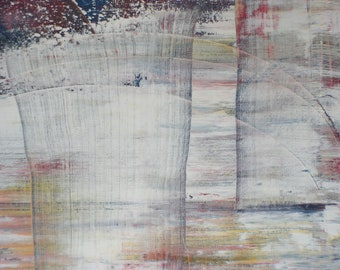 Inspired by Gerhard Richter Original Fine Modern Art Abstract Painting blue medium sized Colorfull
