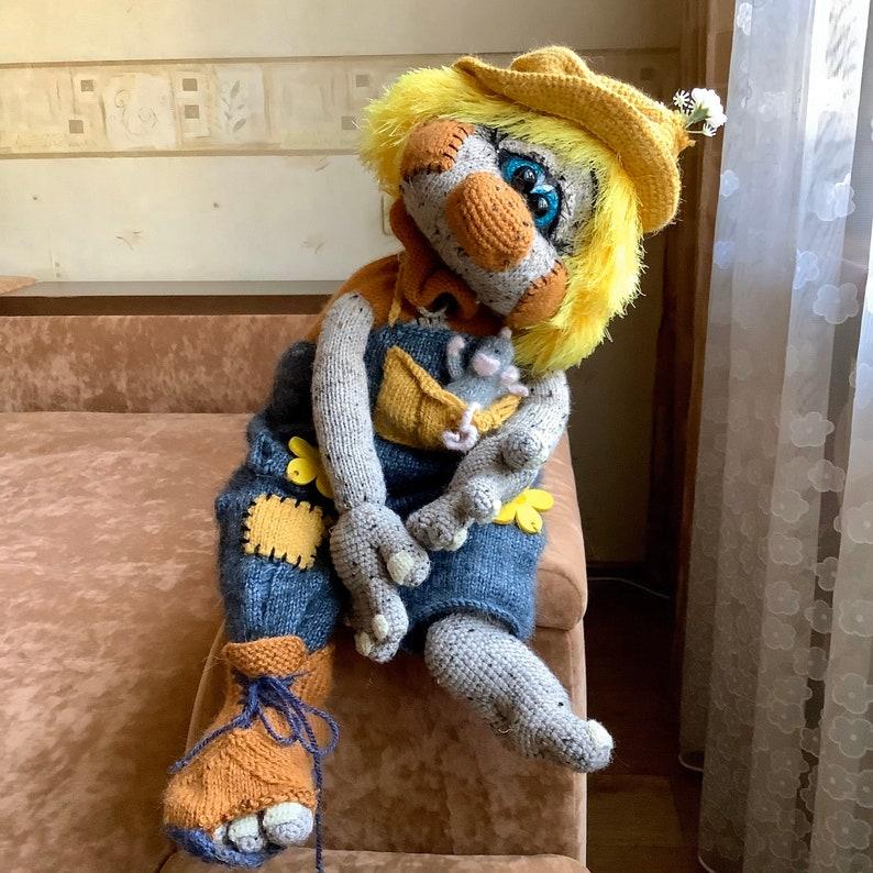 Art crochet toy Scarecrow Wizard of Oz Crocheted mouse Crochet Scarecrow Large stuffed crochet toy Scarecrow crochet toy Scarecrow doll cute