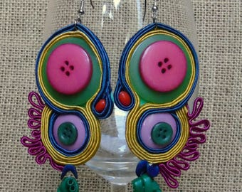 soutache earrings, colourful earrings, hyppie style, button earrings