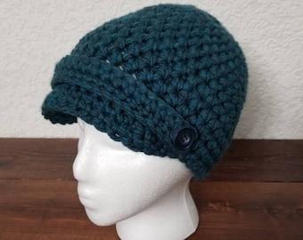 Newsboy cap / crochet newsboy hat / crochet beanie / women's hat / women's beanie / crochet brimmed hat / brimmed beanie /