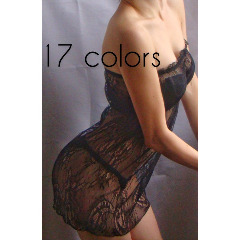 e8820da7bc0 Black nightie Sexy nightgown Lace sleepwear Sheer nighty
