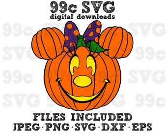 Minnie Mouse Pumpkin With Bow SVG DXF Png Vector Cut File Cricut Design Silhouette Cameo Vinyl Decal Disney Template Heat Transfer Iron On