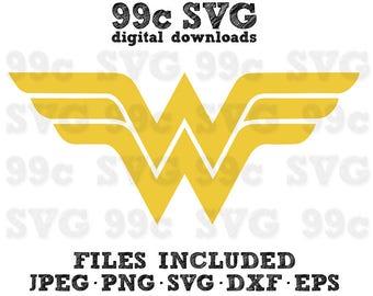 DC Wonder Woman Logo SVG DXF Png Vector Cut File Cricut Design Silhouette Vinyl Decal Disney Party Stencil Template Heat Transfer Iron