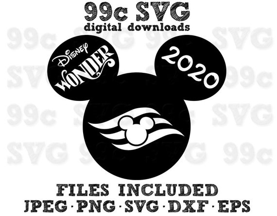 Disney Wonder 2020 Cruise Ship Mickey Head Svg Dxf Png Vector Etsy