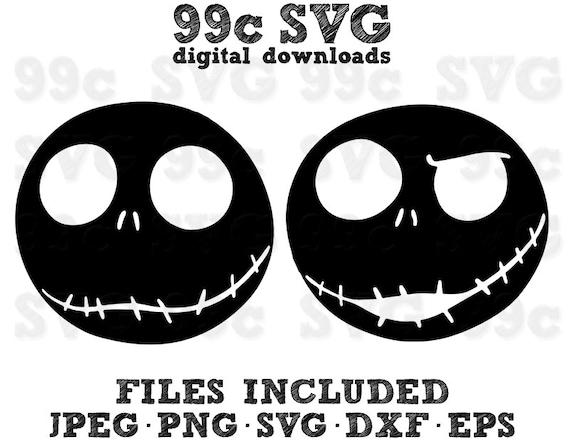 Jack Skelington Face Disney Svg Dxf Png Vector Cut File Cricut Etsy