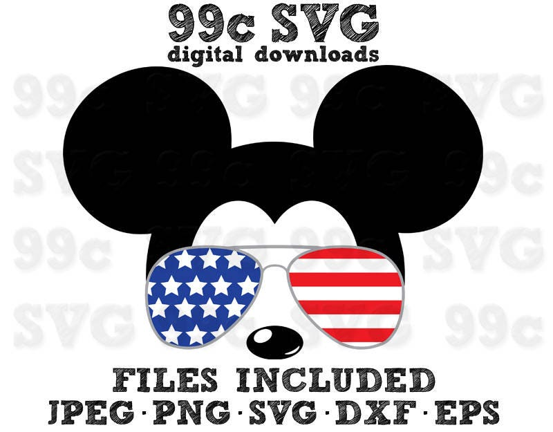 Mickey Usa Flag Sunglasses Svg Dxf Png Vector Cut File