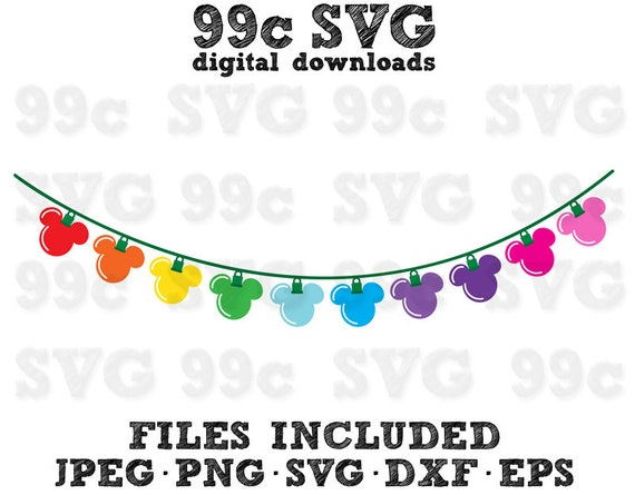 Mickey Christmas String Lights Svg Dxf Png Vector Cut File Cricut Design Silhouette Vinyl Decal Disney Party Stencil Template Heat Transfer