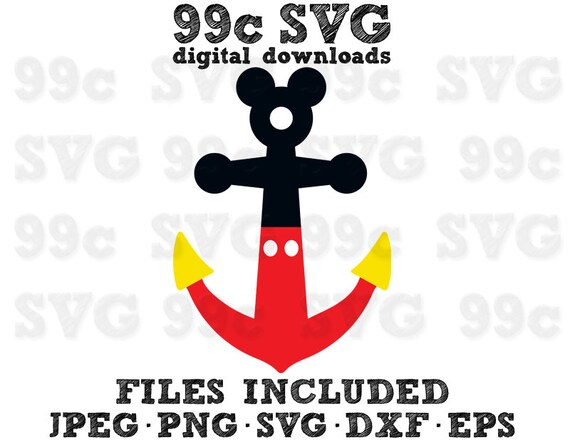 Mickey Style Anchor Svg Dxf Png Vector Cut File Disney Dream Etsy