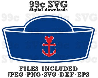 Mickey Mouse Cruise Hat SVG DXF Png Vector Cut File Cricut Design Silhouette Cameo Vinyl Decal Disney Party Stencil Template Heat Transfer