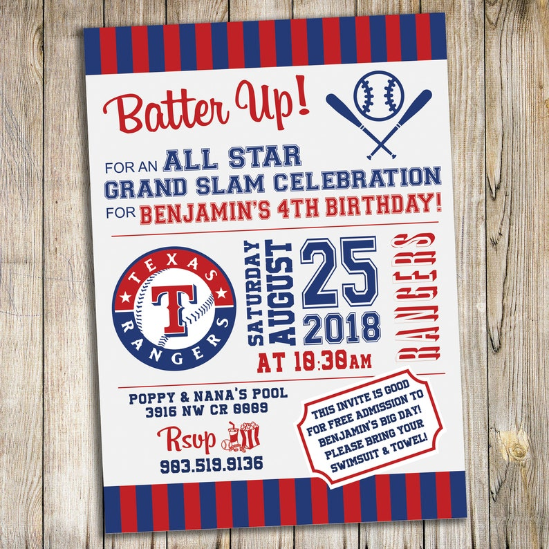 image regarding Texas Rangers Schedule Printable identify Texas Rangers Baseball Birthday Bash Invitation / Custom-made Printable Obtain