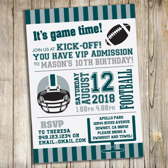 Football Birthday Party Invitations Personalized Custom