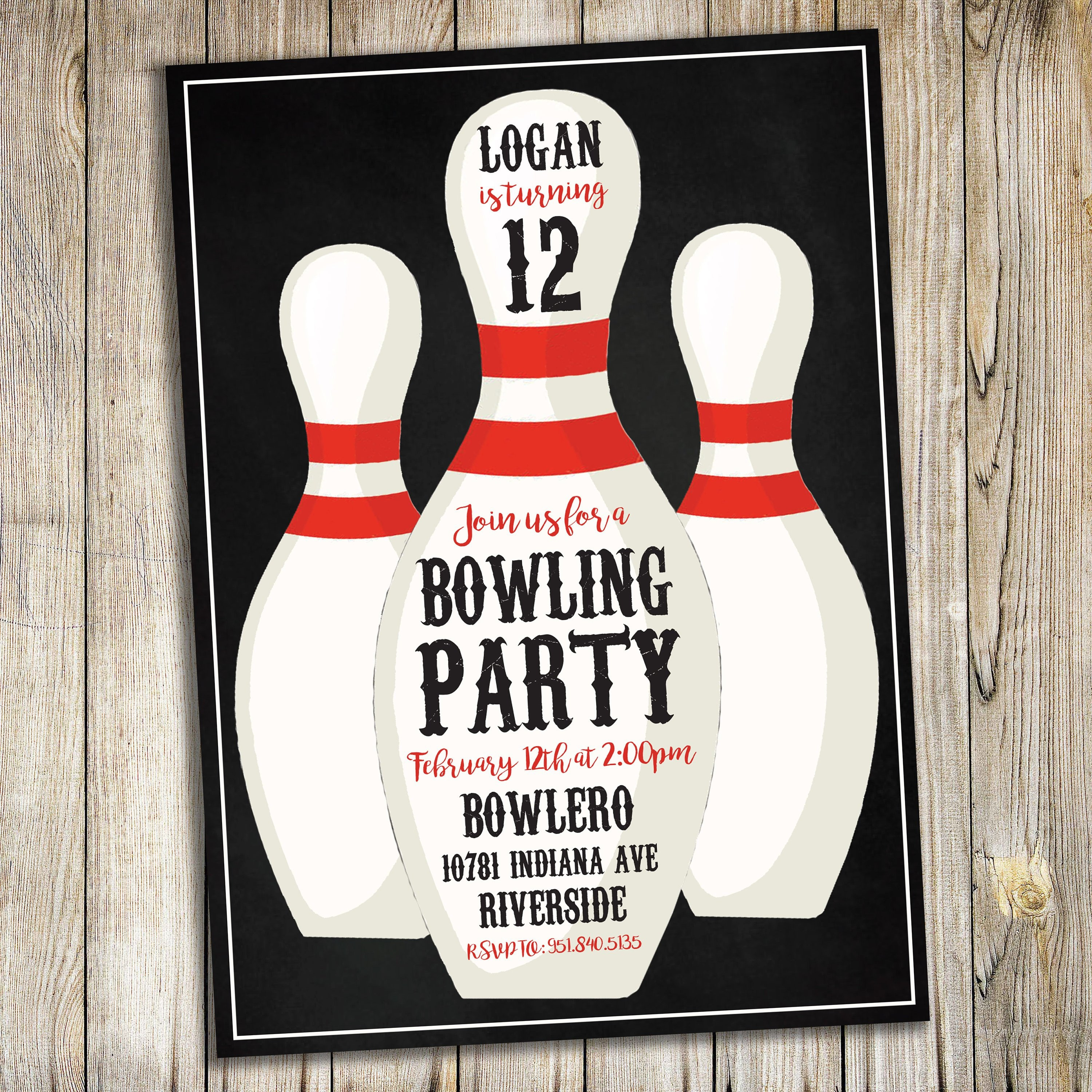 Bowling Theme Birthday Party Invitation Invite