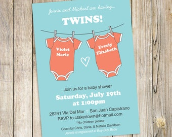 TWINS Baby Shower Invitation / Twin Girls Baby Shower Invite DIY Printable Download