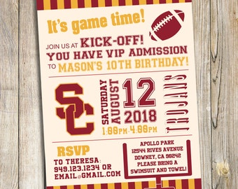 USC Trojans Football Birthday Party / Baby Shower Invitation / Printable Download