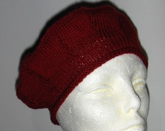 59f4860fe4405 Vintage handmade burgundy beret  Wool dark red beret  Knitted beret