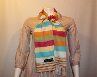 47d38f3e3c0b Vintage women s cashmere scarf made in Scotland  Striped women s scarf with  fringe  Multicolored soft and warm winter scarf