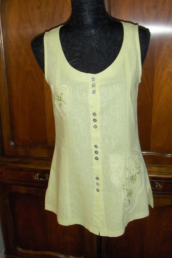 She/Oiginal sleeveless linen and viscose blouse/ V