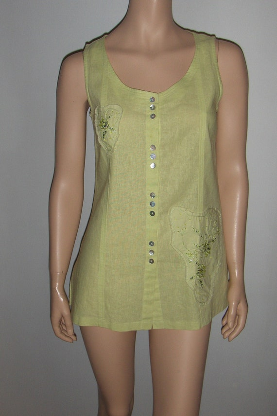 She/Original sleeveless linen and viscose blouse/