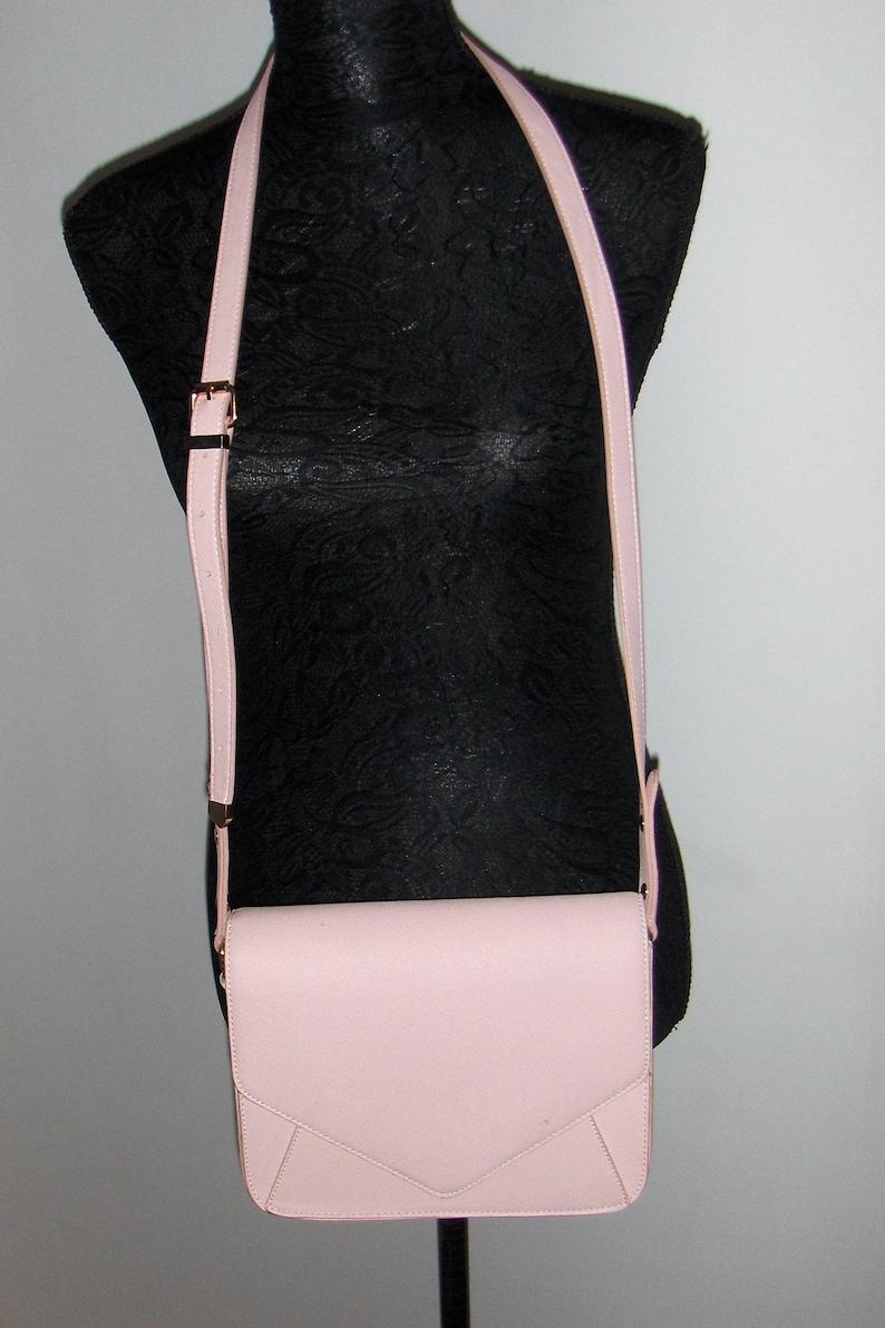 83a5c41c17 Vintage light pink faux leather shoulder or crossbody bag/ Kappahl small  messenger bag/ Retro spring-summer purse