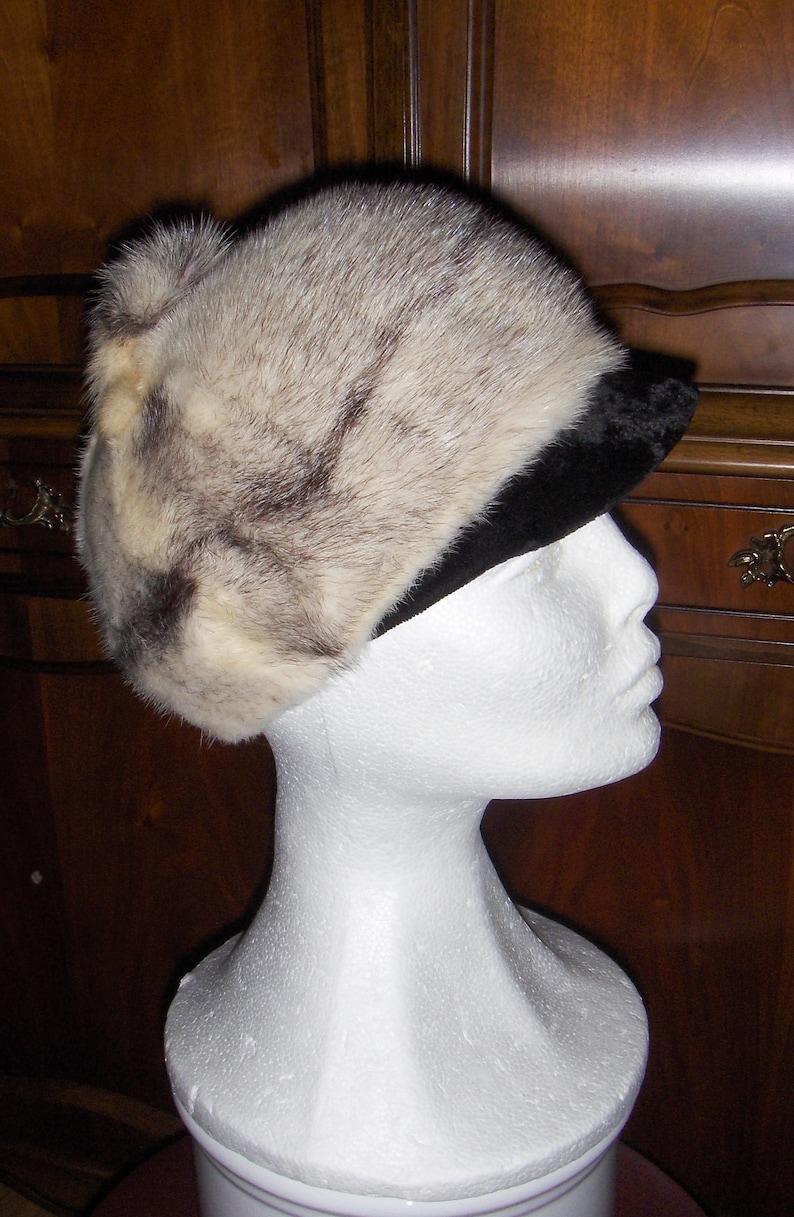 175a6e2a437 Swedish vintage womens rabbit fur cap with velvet visor