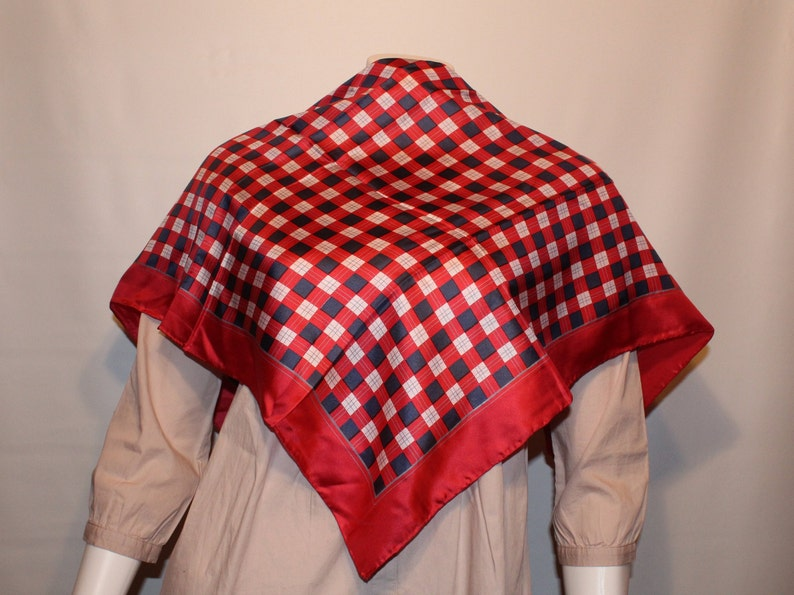 4d5ea93d8d0 Vintage checkered silk scarf in red navy blue and