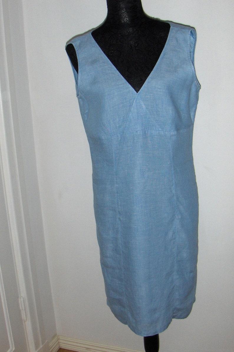 aa384ea2a87 Vintage baby blue sleeveless linen dress  A Feeling of Joy