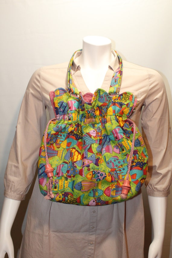 Fish fabric shoulder bag/Vintage handmade colorful