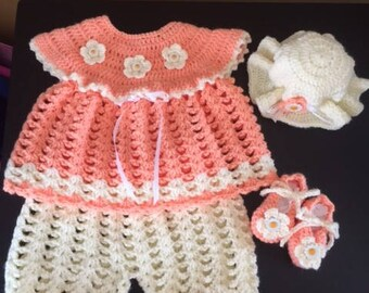 Newborn 4 Piece Outfit, Complete Baby Outfit, Perfect Baby Shower Gift for a that Special Little GIrl