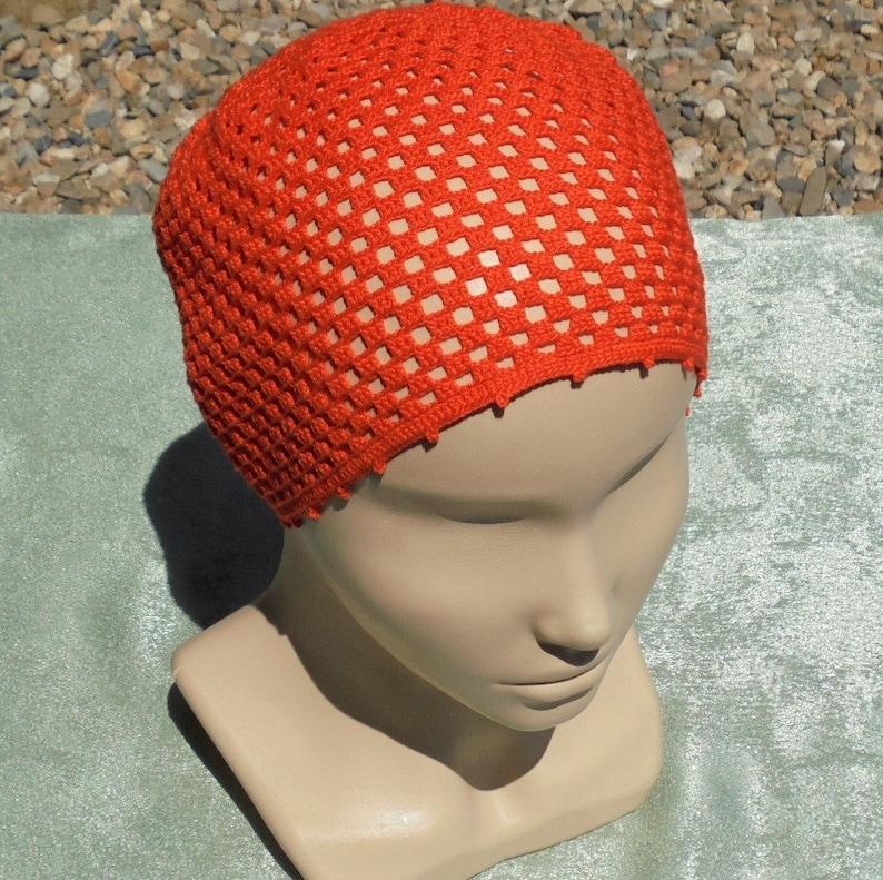 Burnt orange summer cotton lace hat for women and girls Crochet beach beanie Summer travel gift Sun cap handmade Birthday gift girlfriend