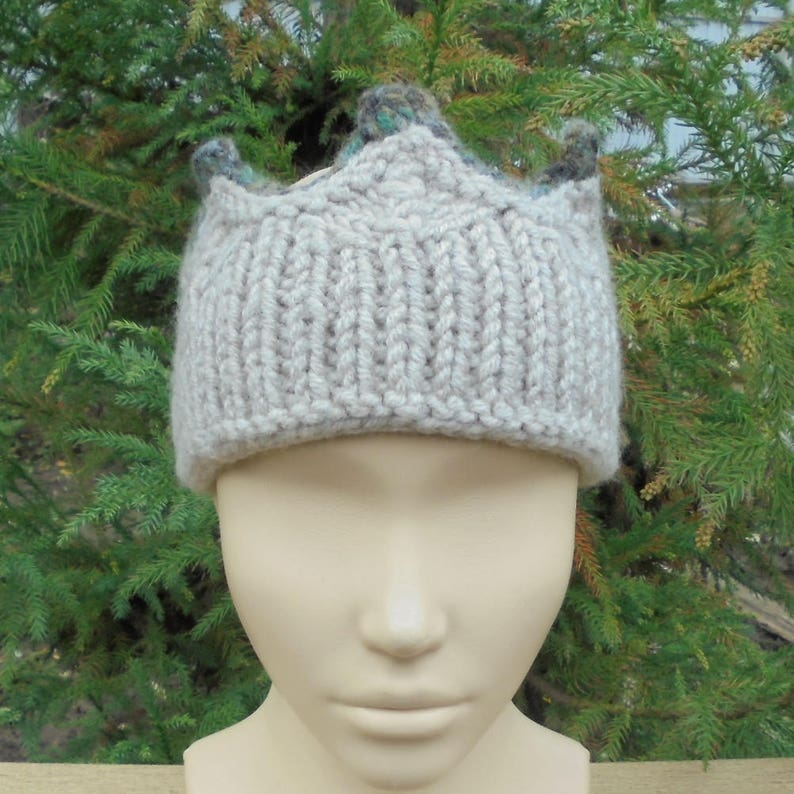 63e0b50f358 Gray knitted crown Women headband Hand knit winter warm | Etsy