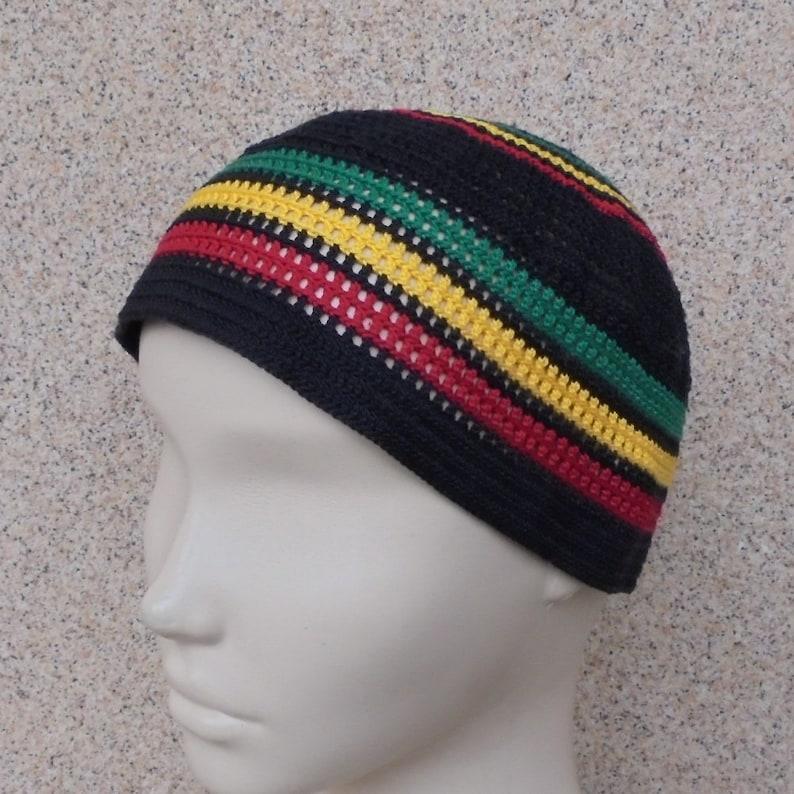 b4c42e1fb8b Rasta hat Handmade cotton thin summer skullcap Beach