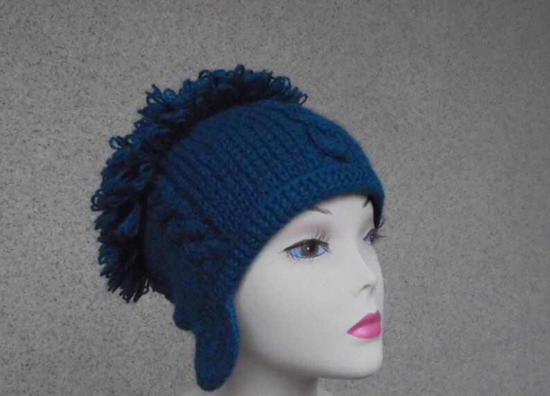 6572d7972c1 Green knit wool ear flap helmet hat for women Winter warm cozy