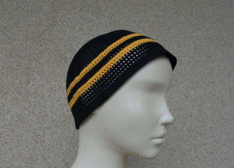Summer cotton mens black crochet chemo hat Beach hat for men Best friend gift Unisex black hat Mens kufi hat Hippie beanie Brother gift hat