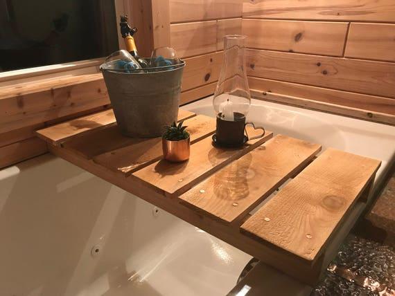 Handmade Custom Cedar Bathtub Tray Caddy | Etsy