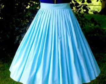 "Aqua stripe ""Katherine"" pleat skirt size XS"