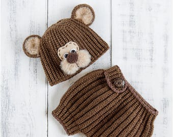 Newborn bear hat and diaper cover, Bear baby costume, Baby boy bear outfit, Bear crochet animals set, Infant bear beanie, Newborn photo prop