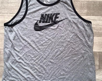 b13f306cab4ec Mens Nike Gray And Black The Nike Tee Fit Athletic Cut Tank Top Muscle Shirt  XXL