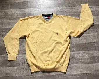 958dba38dd977b Vintage Tommy Hilfiger Sweater Big Flag Mens SZ XL Yellow Tommy Lion Crest