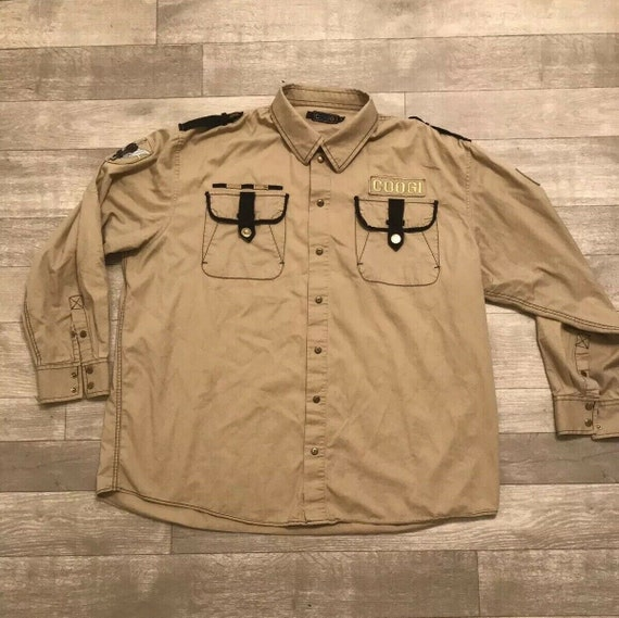 90s 00s Coogi Military Style Button Down Shirt Men