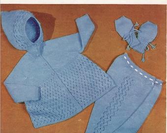 Vintage knitting pattern cosy pram set