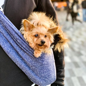 Pet carrier M SIZE- Toy REVERSIBLE Dog SlingGrayBlue Chihuahua Dog Purse Carrier Dog carrier Dog sling carrier S