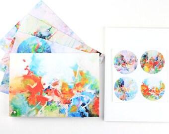 Set of 4 Artist Steph Joy Hogan Blank Greeting Cards Mystic Lake YMCA Camp