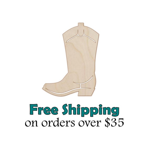 D.I.Y Great for Crafting Projects Cowboy Boot Wooden Laser Cut Out Shape Hobbyist