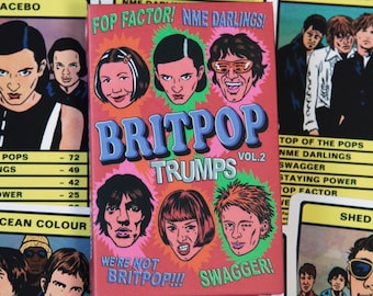 BRITPOP TRUMPS Card Game Vol.2 (30 britpop bands inc. Shed Seven, Placebo, Super Furry Animals, Radiohead, The Verve and many more)